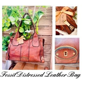 100% Crafted Leather Brown Distressed Fossil Bag